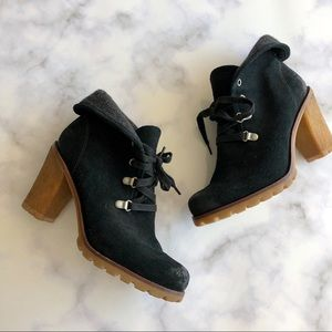 UGG Fold Over Lace Up Heeled Boots